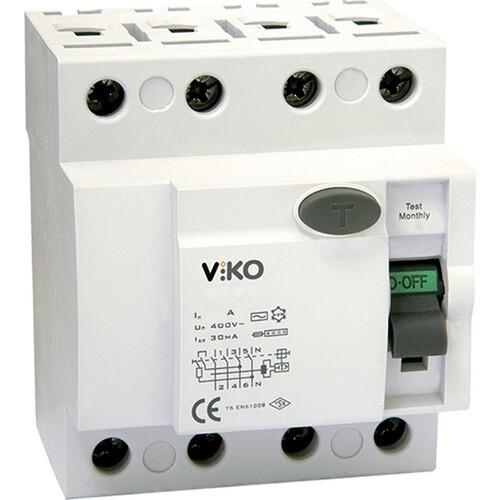 Viko - 4X40A 30MA KAÇAK AKIM 6KA A TİPİ KİTNENEBİLİR VİKO