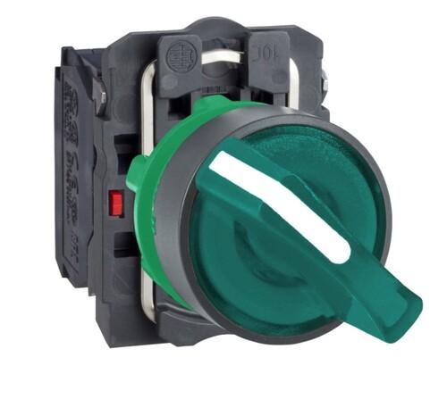 Schneider - Schneider Q22 (0-1) Kalıcı 1NA+1NK 230V AC Yeşil Işıklı Mandal Buton XB5AK123M5