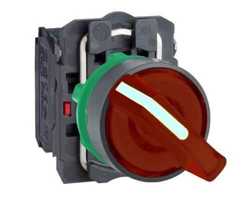 Schneider - Schneider Q22 (0-1) Kalıcı 1NA+1NK 24V AC-DC Kırmızı Işıklı Mandal Buton XB5AK124B5