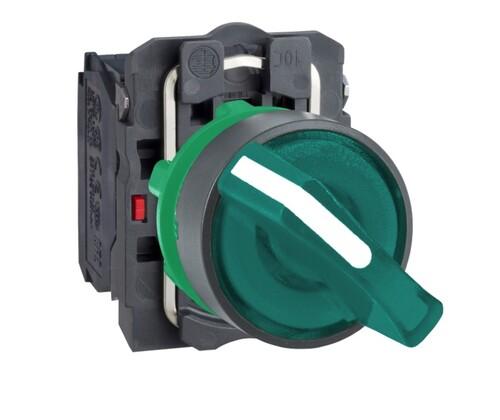 Schneider - Schneider Q22 (0-1) Kalıcı 1NA+1NK 24V AC-DC Yeşil Işıklı Mandal Buton XB5AK123B5