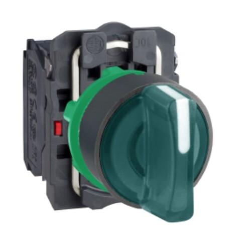 Schneider - Schneider Q22 (1-0-2) Kalıcı 1NA+1NK 230V AC Yeşil Işıklı Mandal Buton XB5AK133M5