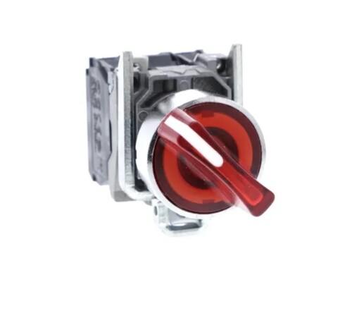 Schneider - Schneider Q22 (1-0-2) Kalıcı 1NA+1NK 24V AC-DC Kırmızı Işıklı Mandal Buton XB4BK134B5