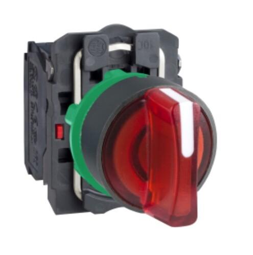 Schneider - Schneider Q22 (1-0-2) Kalıcı 1NA+1NK 24V AC-DC Kırmızı Işıklı Mandal Buton XB5AK134B5