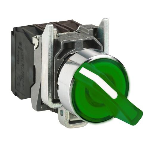 Schneider - Schneider Q22 (1-0-2) Kalıcı 1NA+1NK 24V AC-DC Yeşil Işıklı Mandal Buton XB4BK133B5